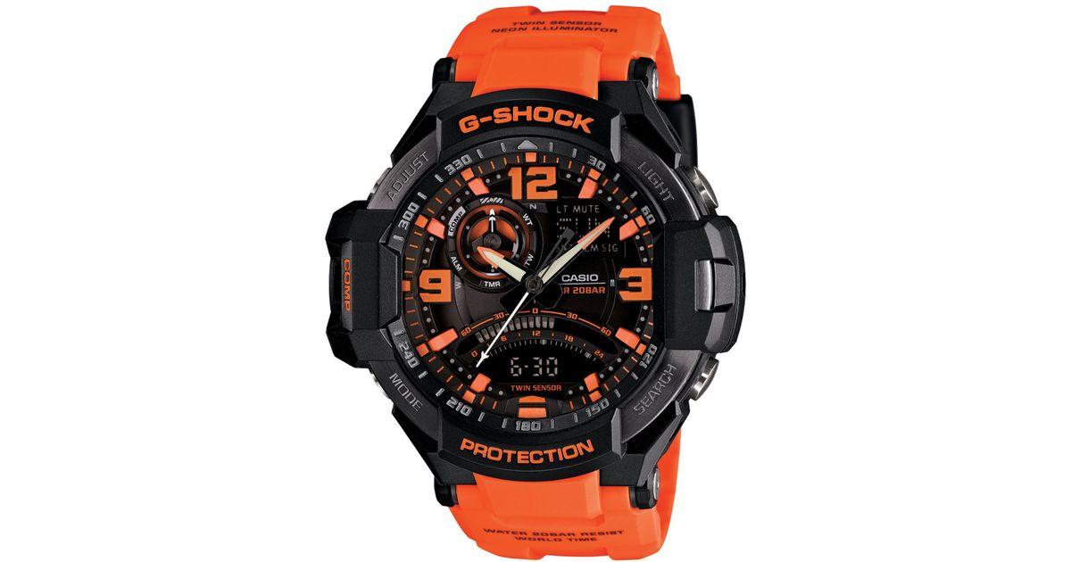 9ca51aaba968 Lyst - G-Shock Men s Analog-digital Orange Resin Strap Watch 51x52mm  Ga1000-4a in Orange for Men