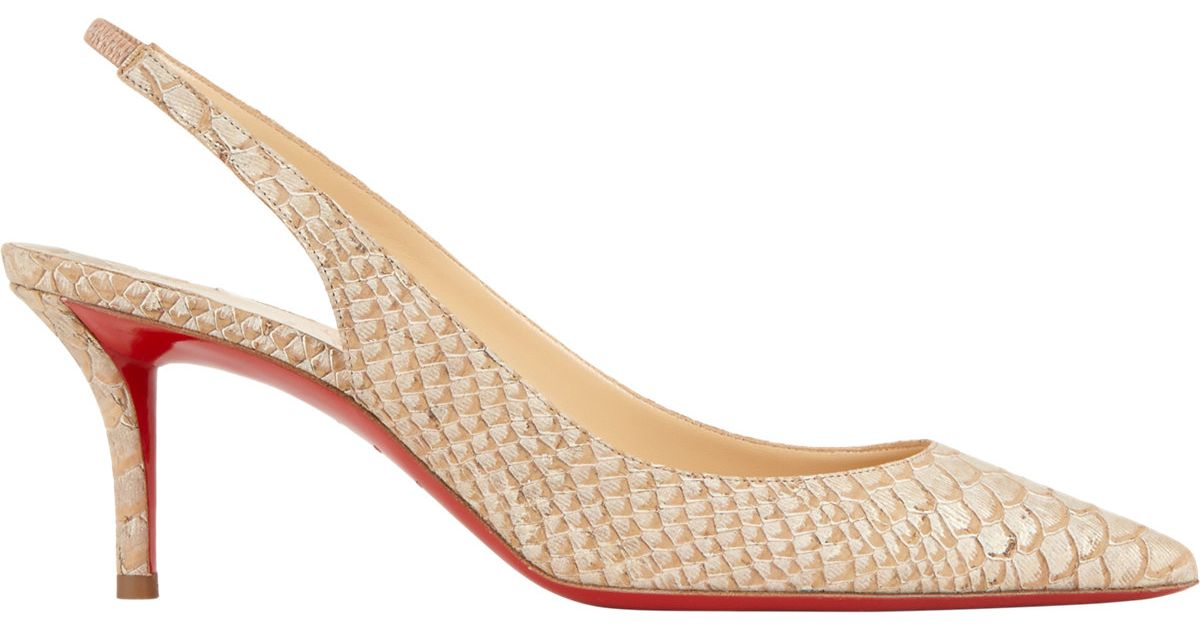 8242b2945494 Lyst - Christian Louboutin Apostrophy Slingback Pumps in Natural