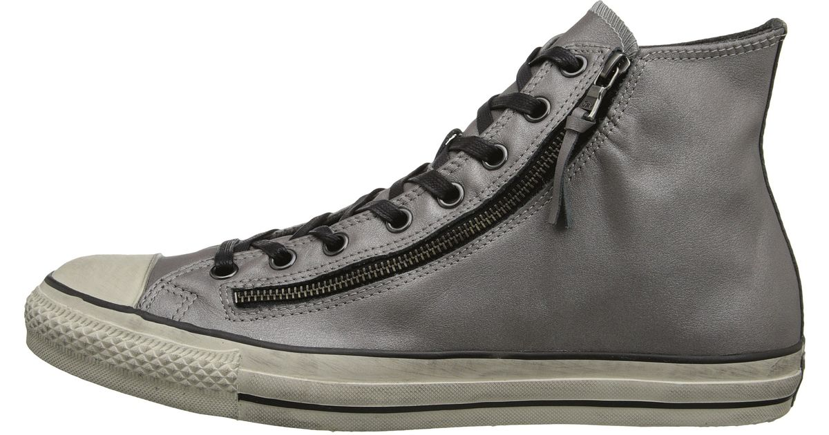 ab963d2c1b78 Lyst - Converse Chuck Taylor All Star Double Zip Silver Brushed Leather in  Gray