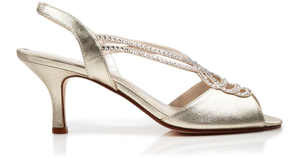 213e58837e5f37 Caparros Open Toe Slingback Evening Sandals - Philomena Mid Heel in Metallic  - Lyst
