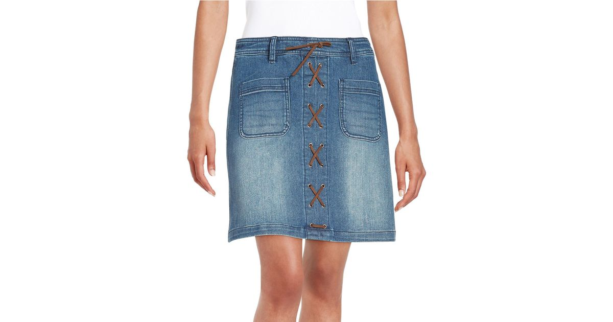 lord lace up denim skirt in blue lyst