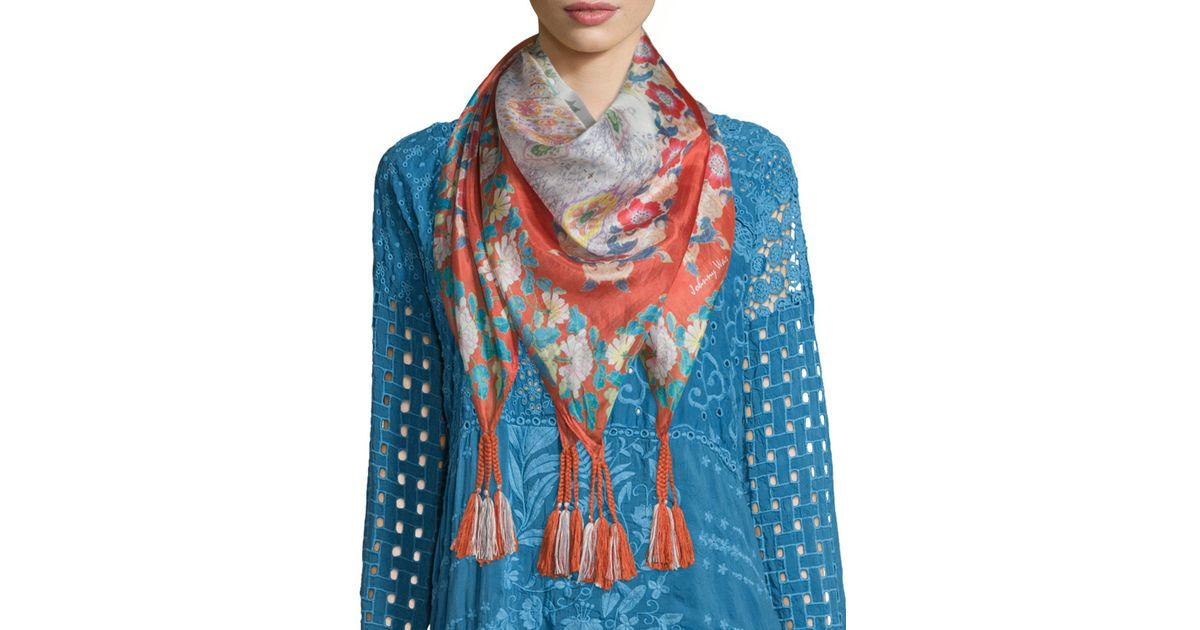 johnny was ruru floral print silk georgette square scarf