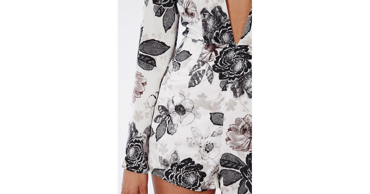 04d848ecb49 Lyst - Missguided Classic Floral Plunge Playsuit Ivory