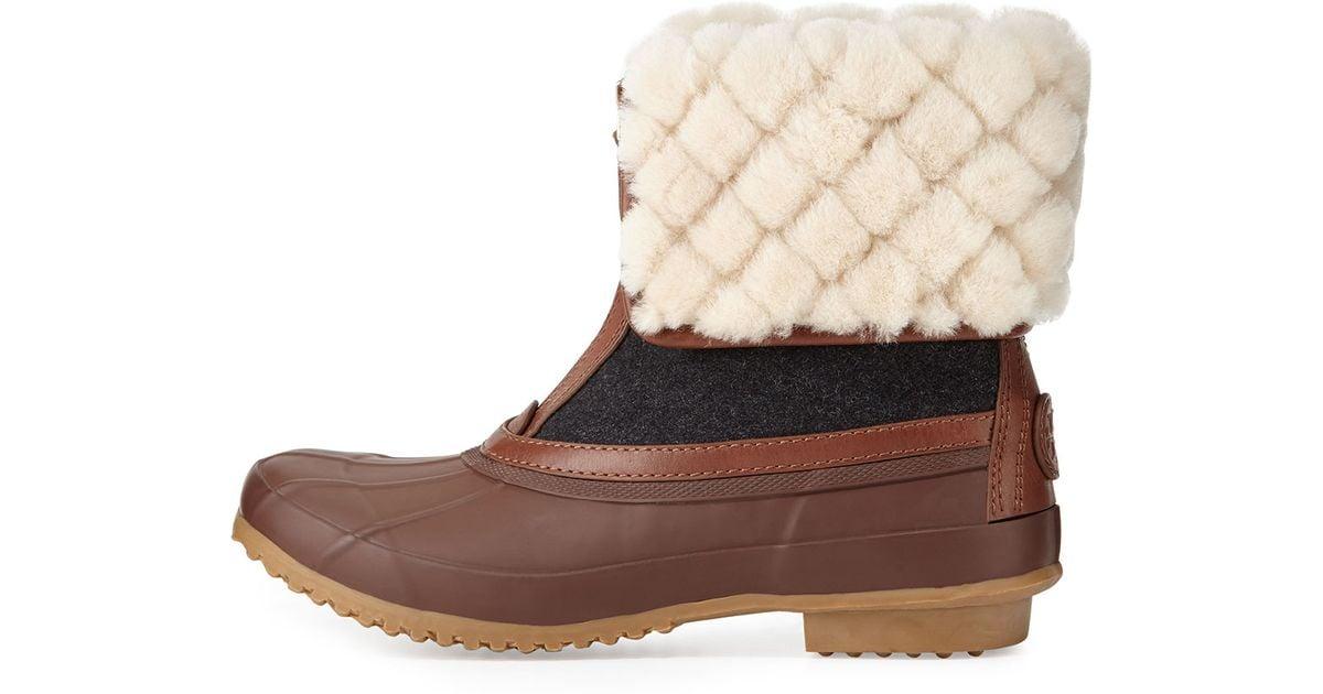 2753074e60d7 Lyst - Tory Burch Abbott Shearling-Cuff Duck Boot in Brown
