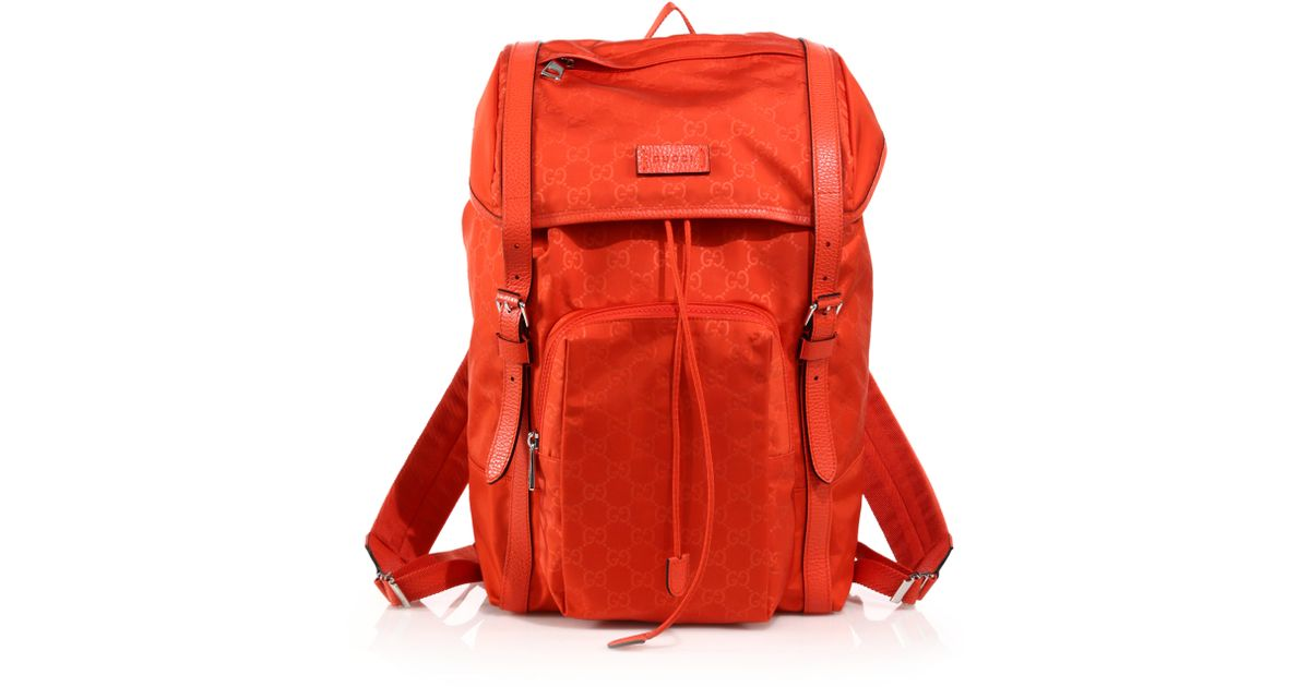 Lyst - Gucci Nylon Sima Backpack in Red