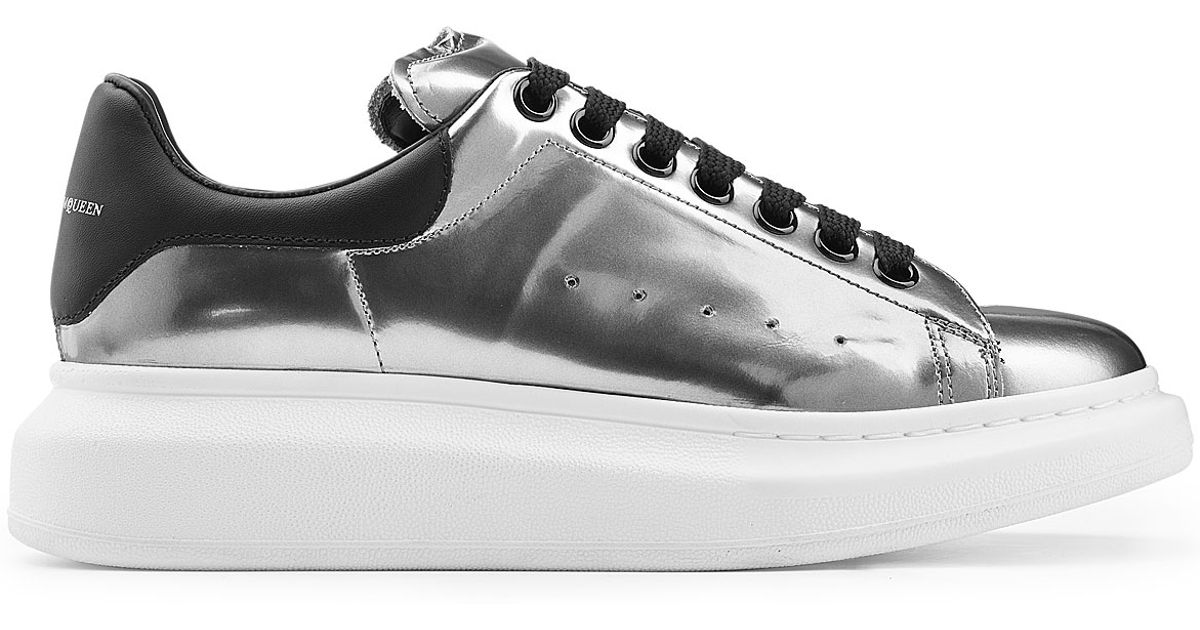 98bb7e61c3ba Lyst - Alexander McQueen Metallic Patent Leather Sneakers - Silver in  Metallic