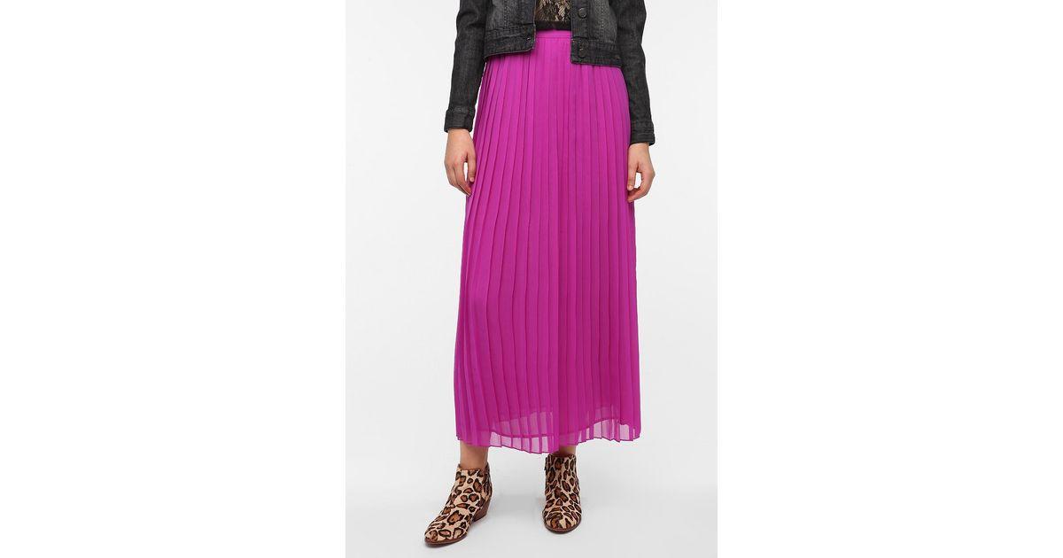sparkle fade pleated chiffon maxi skirt in purple lyst
