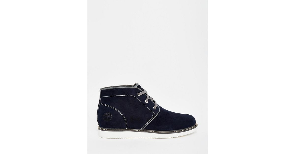 timberland newmarket suede chukka boots in black blue lyst