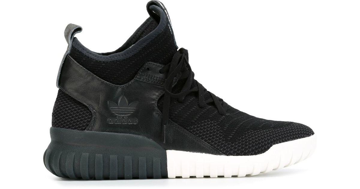 e1e9e3aea851 Lyst - adidas  tubular Primeknit  Hi-top Sneakers in Black for Men