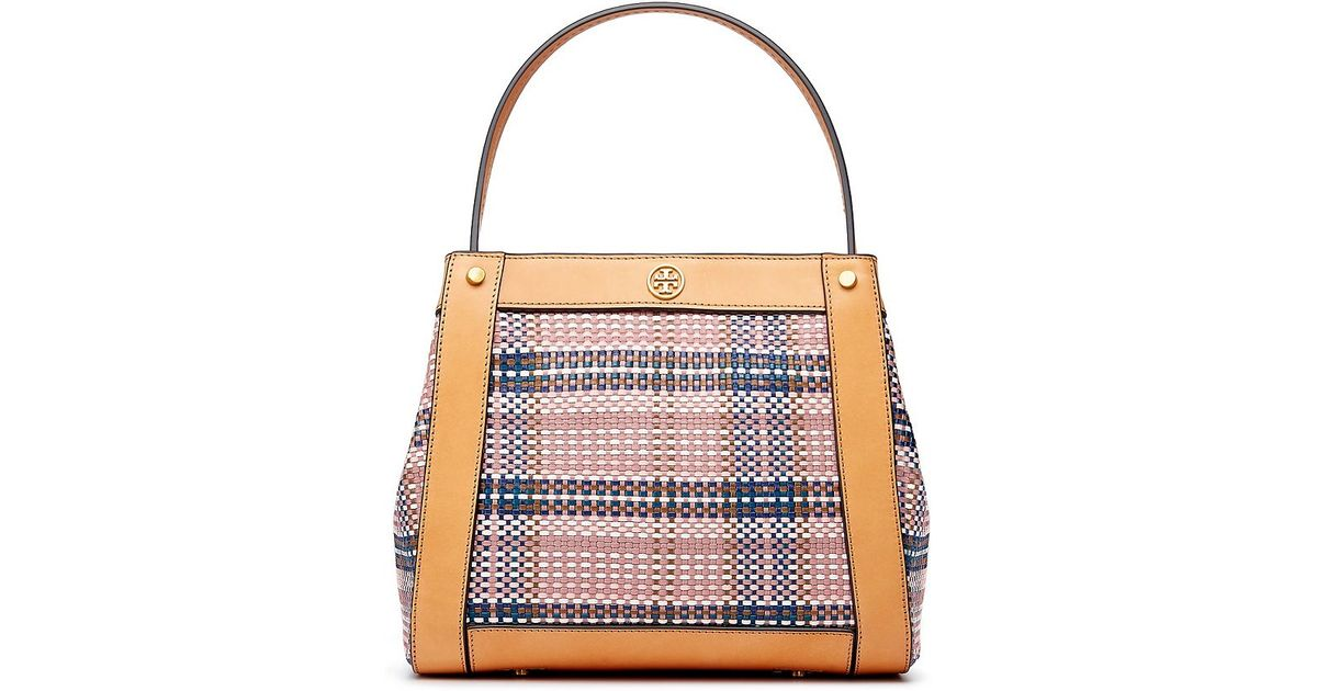 681950629de Tory Burch Woven Leather Small Tote - Lyst