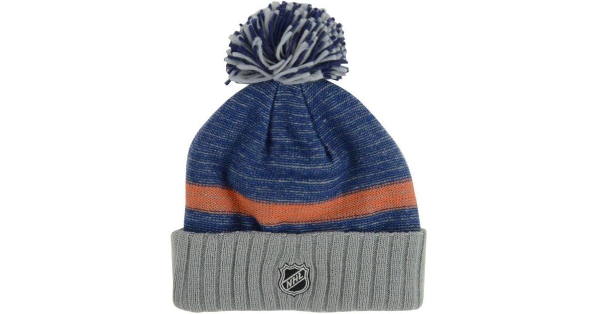 5e2e68ff8d24e ... get lyst reebok edmonton oilers pom knit hat in blue for men 6258e 3663a