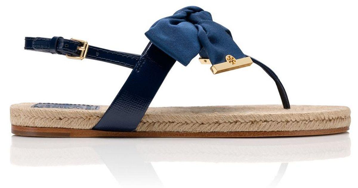 - Tory Burch Penny Flat Thong Sandal In Blue Lyst