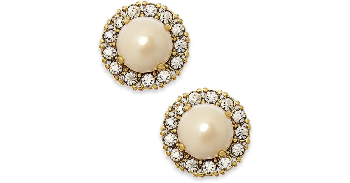 Lyst Kate Spade New York Gold Tone Round Crystal Pearl Stud Earrings In Metallic