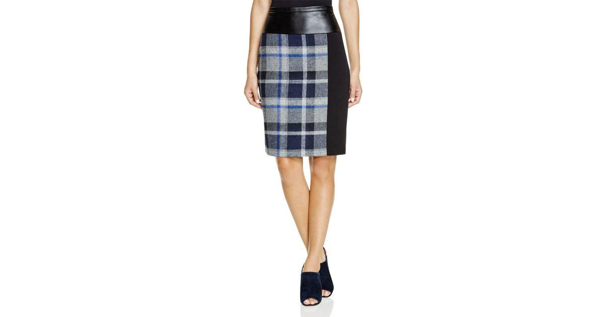 4963e89f21 Lyst - Calvin Klein Faux Leather-trim Plaid Skirt in Gray