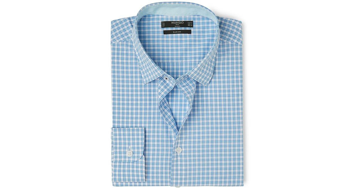 Mango slim fit gingham check shirt in blue for men for Slim fit gingham check shirt