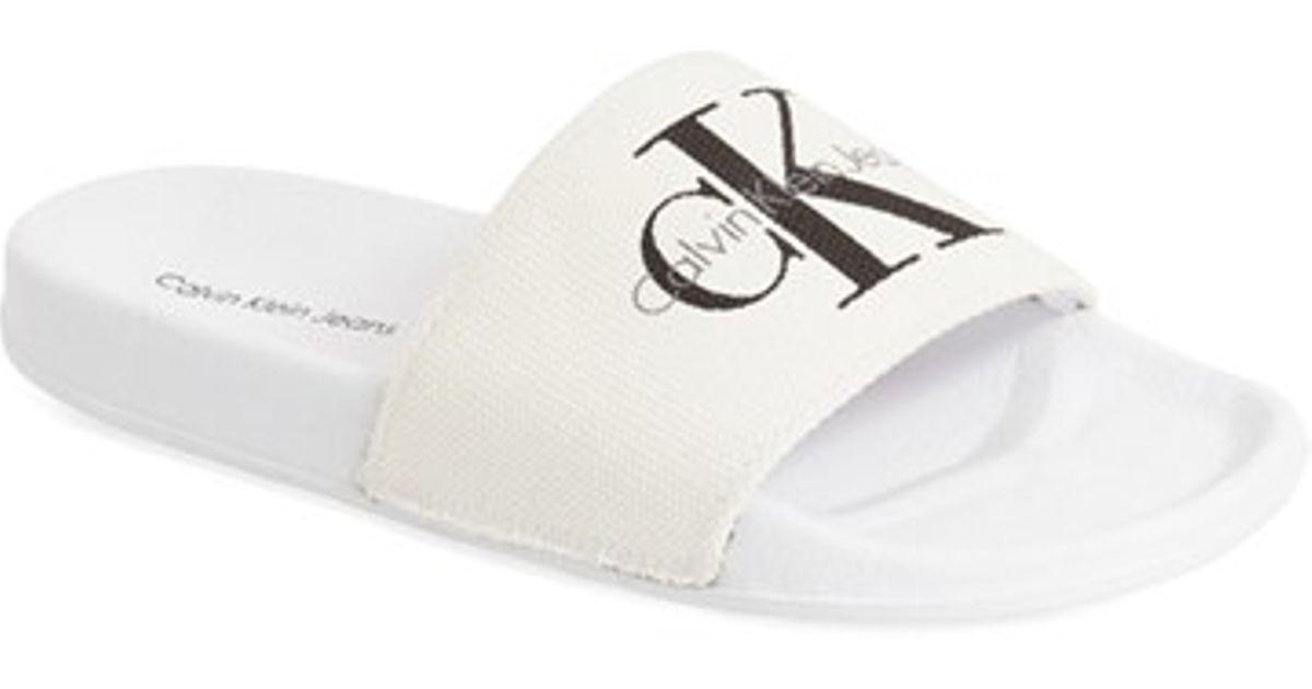 8a35626dd4e2 Lyst - Calvin Klein  viggo  Slide Sandal in White for Men