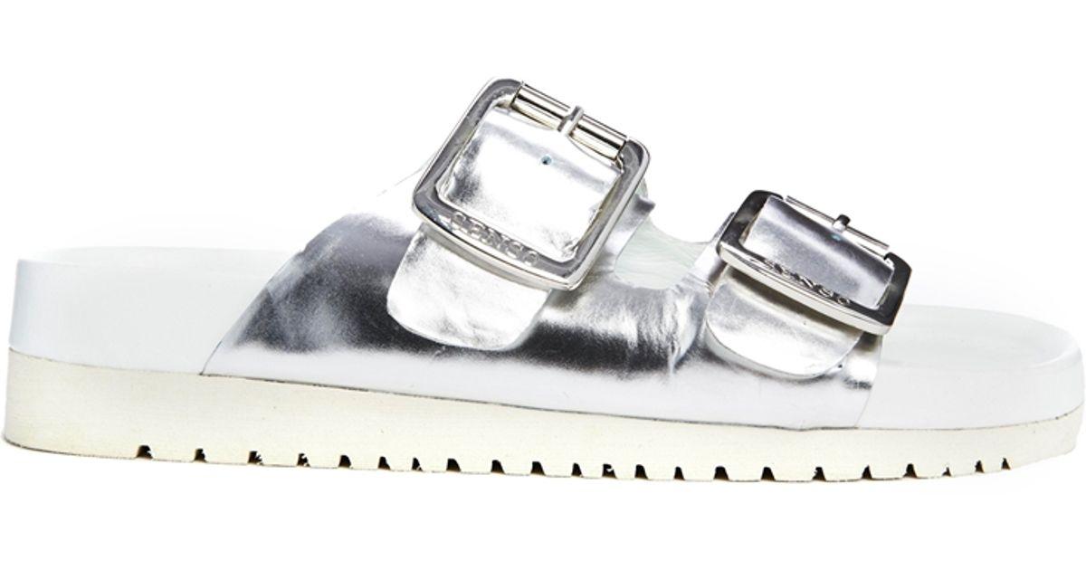 81724aca3 Lyst - Senso Ida Ii Silver Chrome Footbed Flat Sandals in Metallic