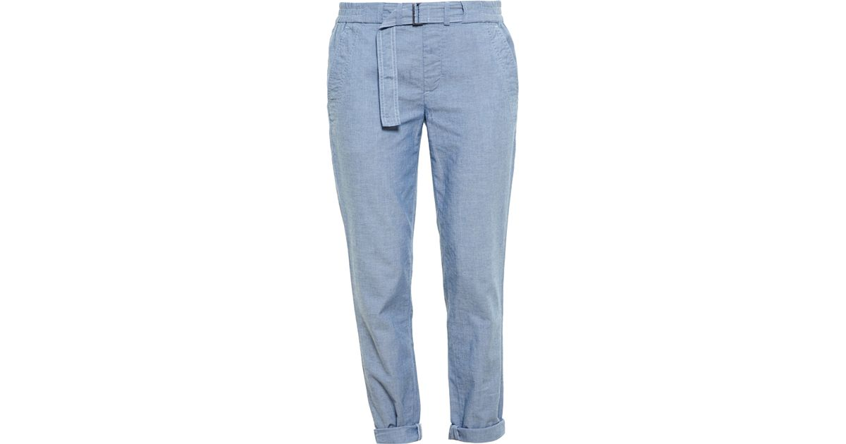 b8528703f38 Lyst - Vince Belted Chambray Trousers in Blue