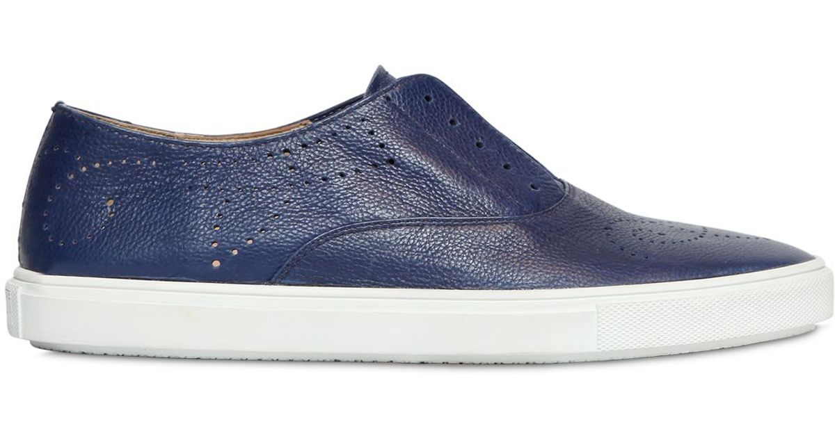 e898e3c8d7b511 Fratelli Rossetti Perforated Leather Slip-On Sneakers in Blue - Lyst