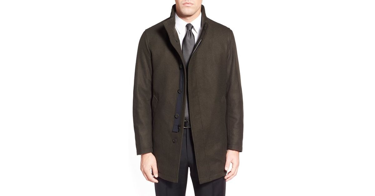 Sanyo 'rainwool' Wool Car Coat in Green for Men | Lyst