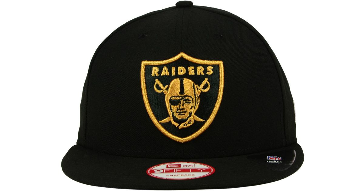 Lyst - KTZ Oakland Raiders Black Metallic Gold 9fifty Snapback Cap in Black  for Men 8fdfaf610471