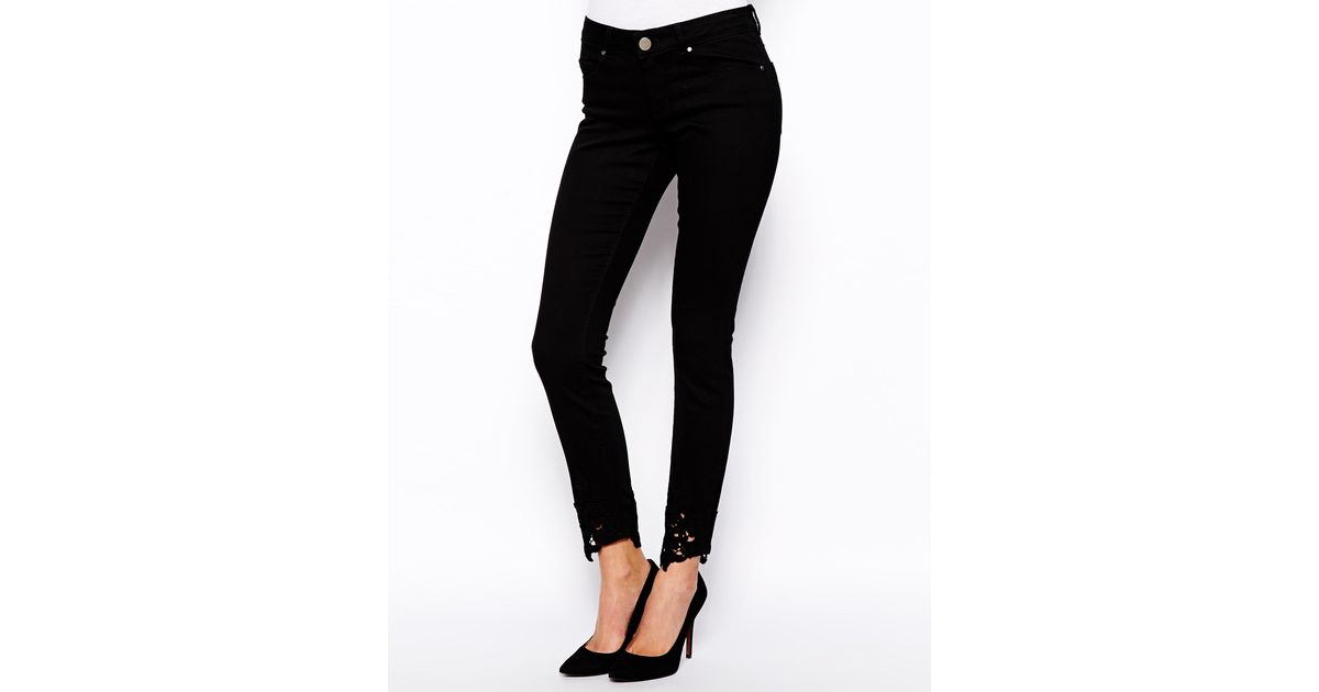 017b575f30fa Lyst - ASOS Whitby Low Rise Skinny Jeans In Black With Crochet Hem in Black