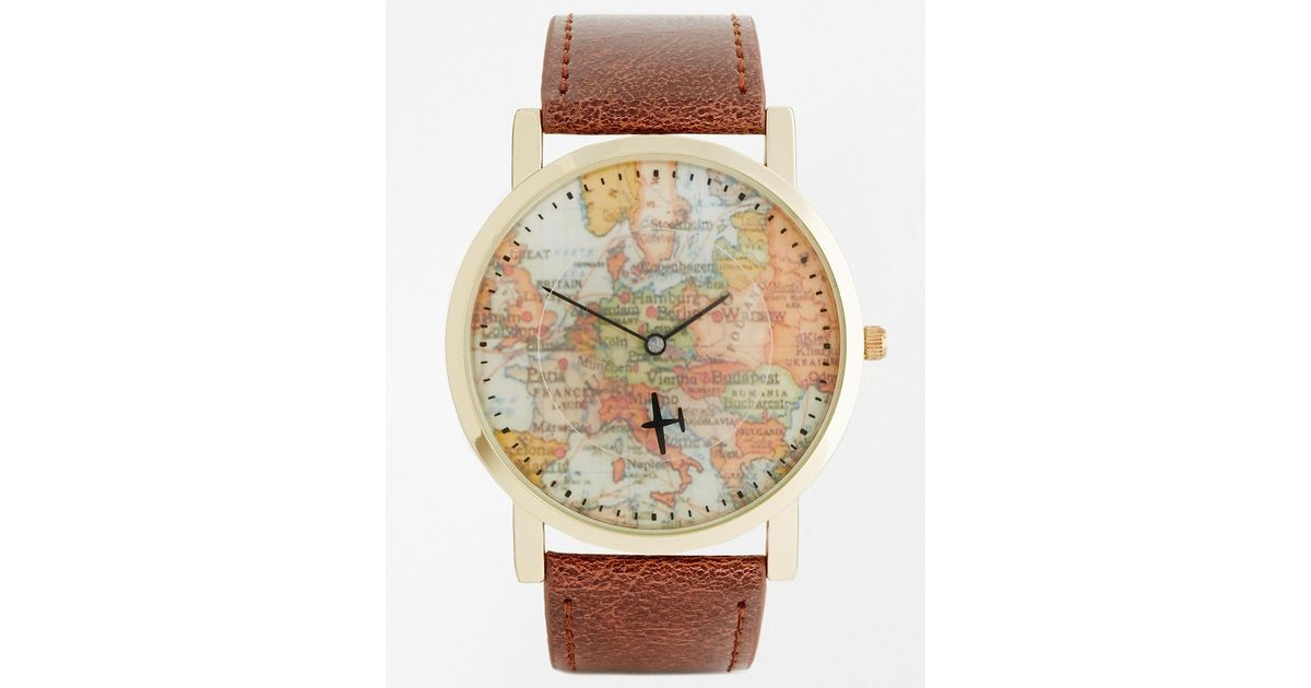 Lyst asos watch with vintage map print in brown for men gumiabroncs Images