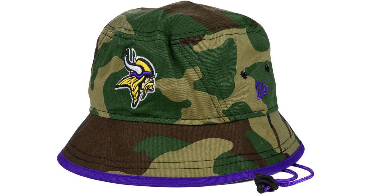 3da7442ee55b8 ... hot lyst ktz minnesota vikings camo pop bucket hat in green for men  b4be6 814c8 ...
