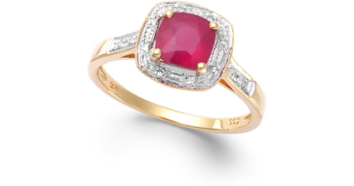 Macy s Ruby 1 1 4 Ct T W And Diamond Accent Ring In 14K Gold in Red