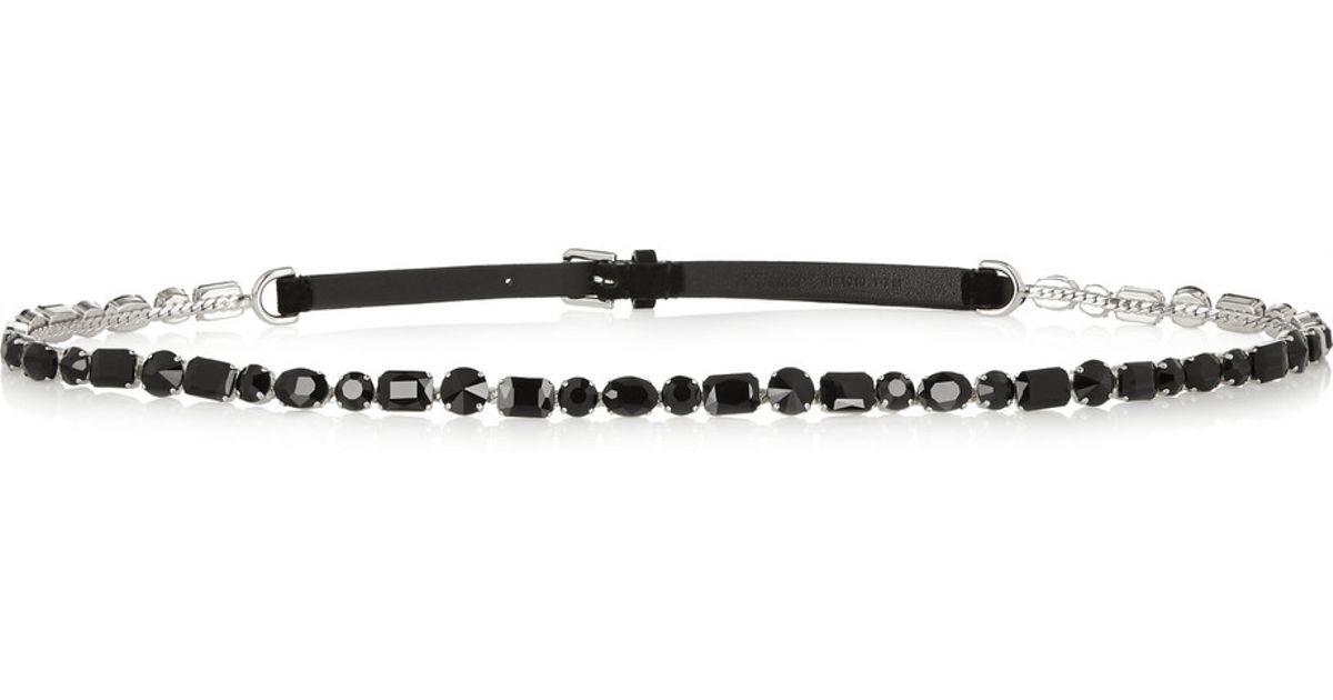 4869fd50fd ... 50% off lyst dolce gabbana swarovski crystal and leather skinny belt in  black 5abe5 3f09b ...