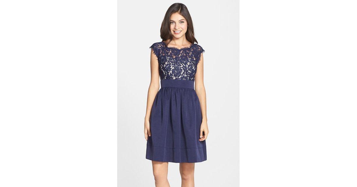 Lyst - Eliza J Lace & Faille Dress in Blue