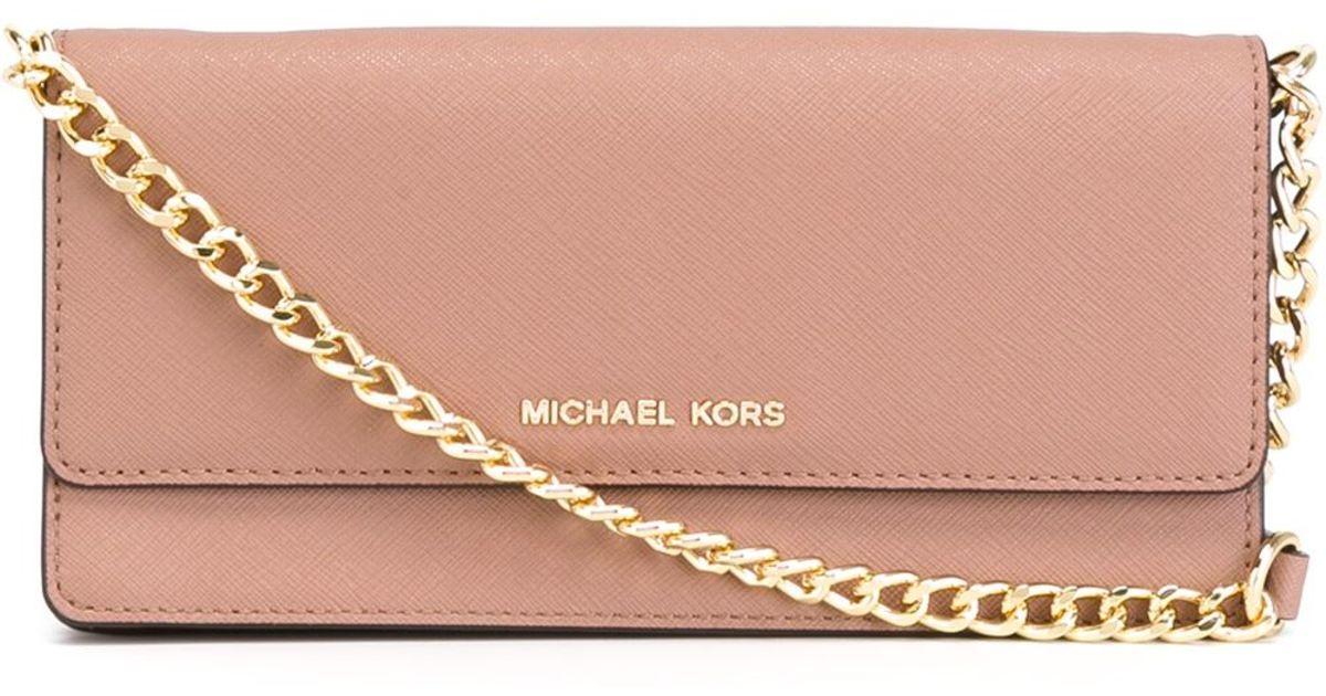 e11d3b26a5c7 MICHAEL Michael Kors 'jet Set Travel' Wallet Crossbody Bag in Pink - Lyst