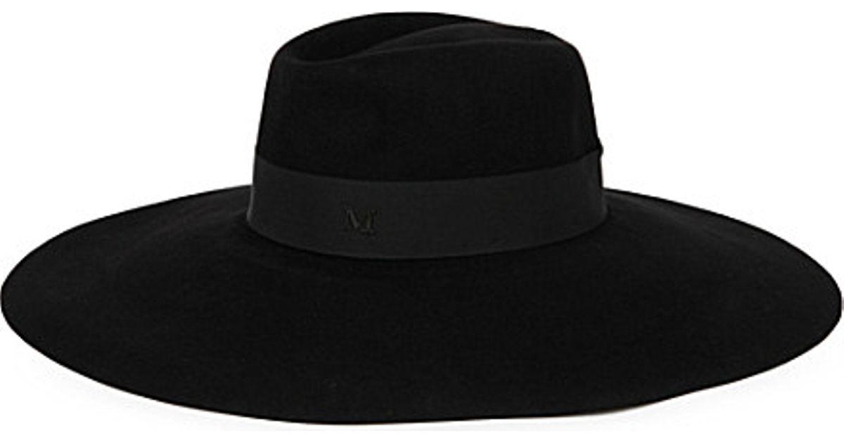 Lyst - Maison Michel Fara Wide-brimmed Felt Fedora Hat in Black 5d94a0e939c
