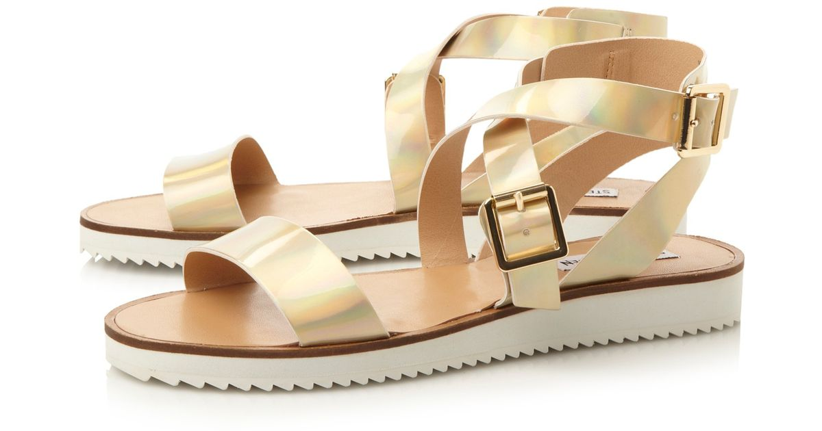 3aaf56975b9 Steve Madden Mellow Cleated Sole Sandals in Metallic - Lyst