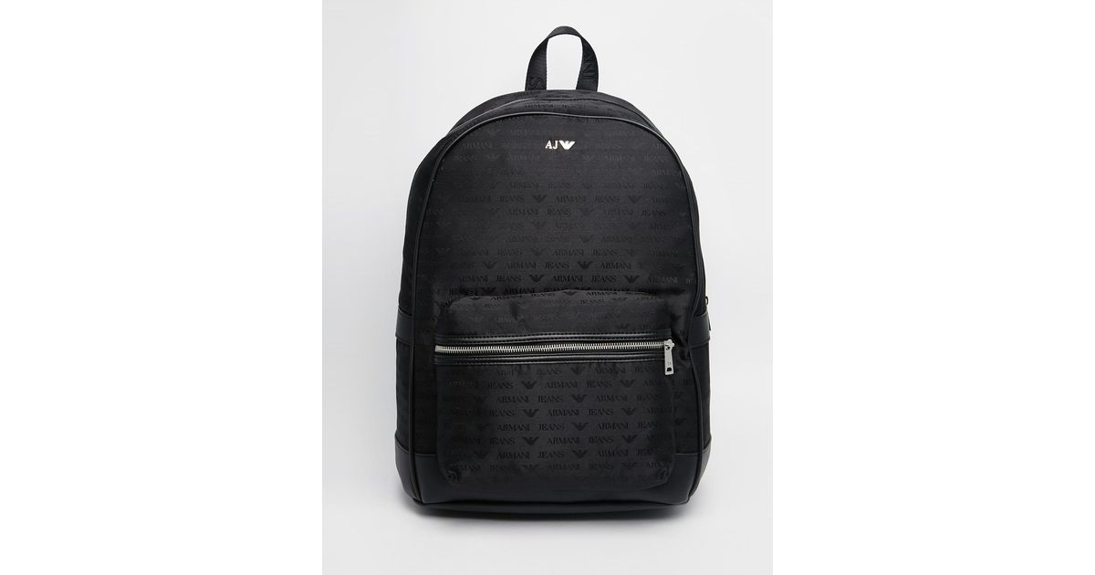 Lyst - Armani Jeans Nylon Backpack With All Over Logo Print in Black for Men b3551e9430134