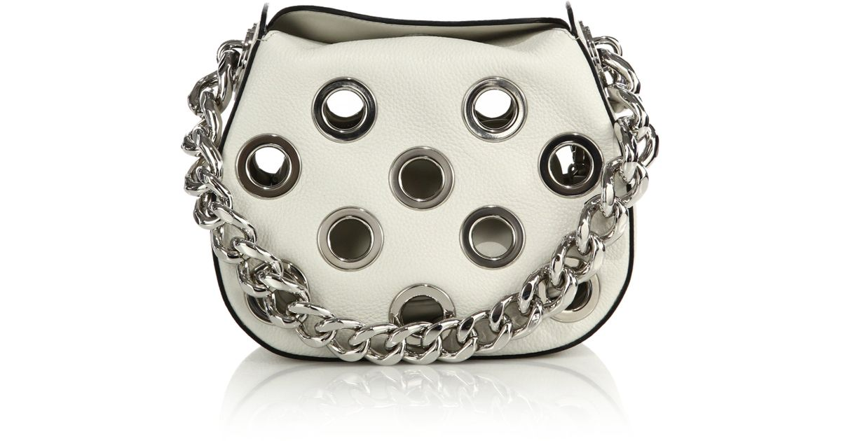 Prada Daino Chain Hobo Bag With Grommets in White (ivory) | Lyst