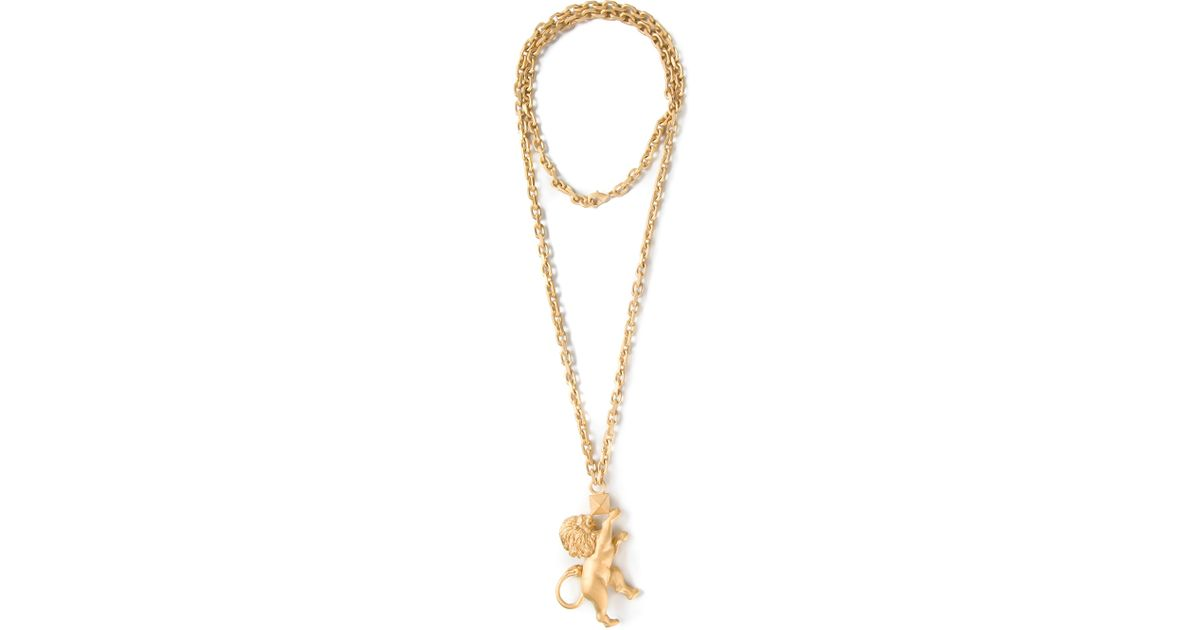 Lyst valentino lion pendant necklace in metallic aloadofball Choice Image