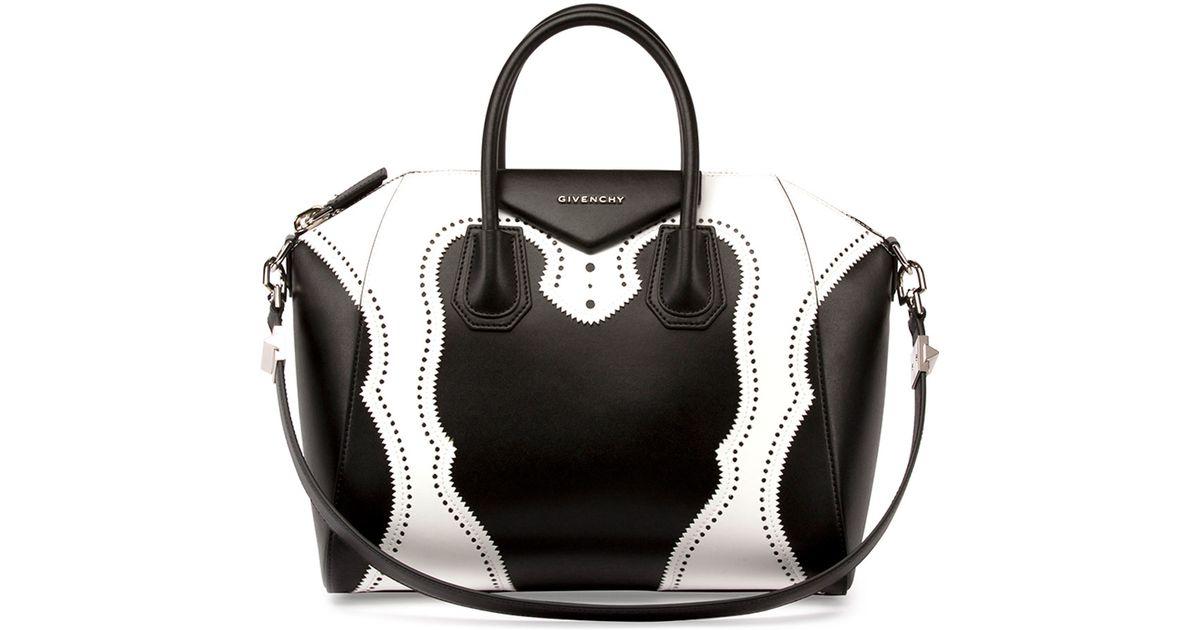 42f4ca15e30d Lyst - Givenchy Black And White Calfskin Mini  antigona  Convertible Tote  in Black