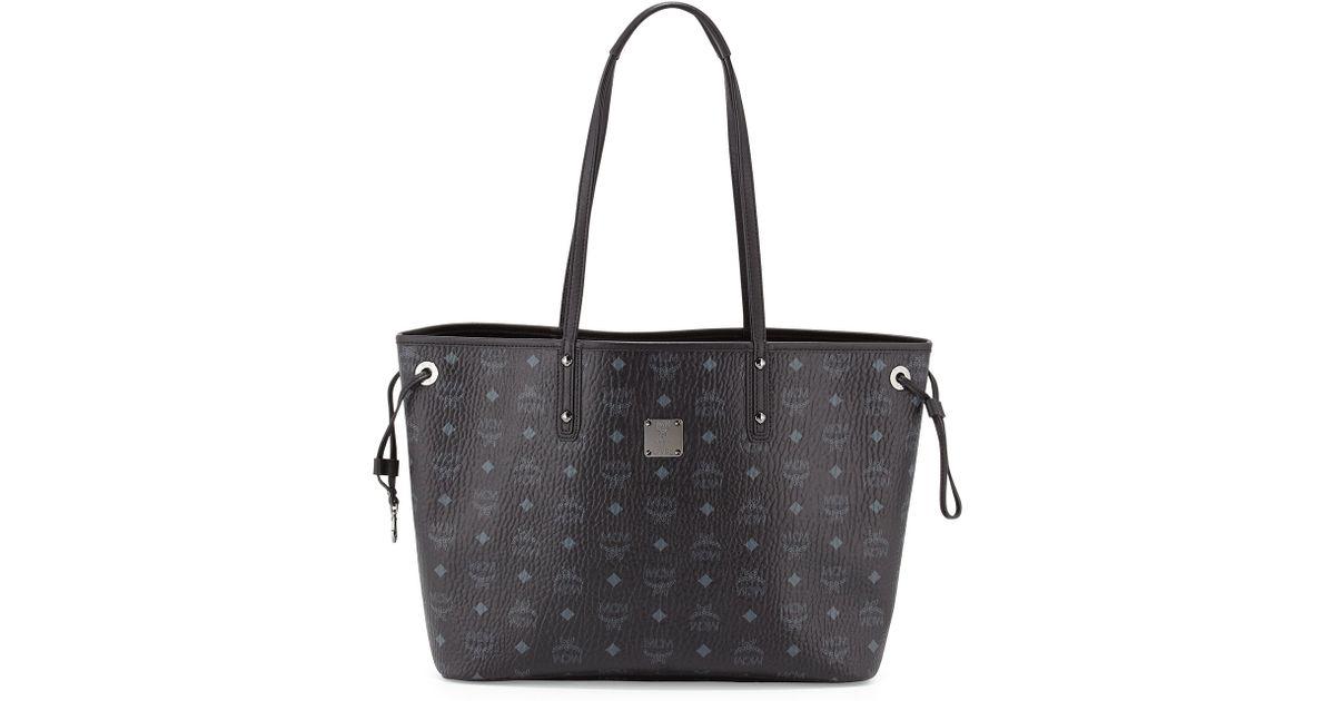 8ec70289da Lyst - MCM Shopper Project Visetos Medium Reversible Shopper Tote Bag in  Black