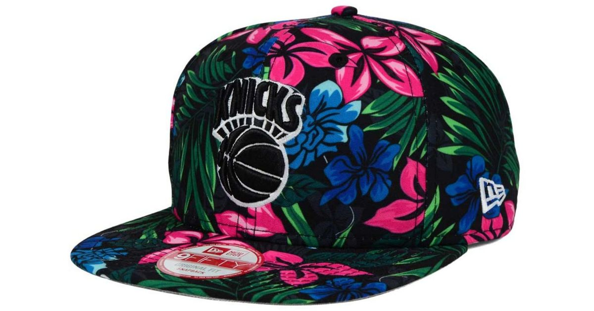 the best attitude abe7d be12b KTZ New York Knicks Shadow Floral 9fifty Snapback Cap in Black for Men -  Lyst