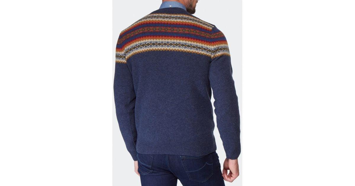 Gant Fair Isle Crew Neck Sweater in Blue for Men | Lyst