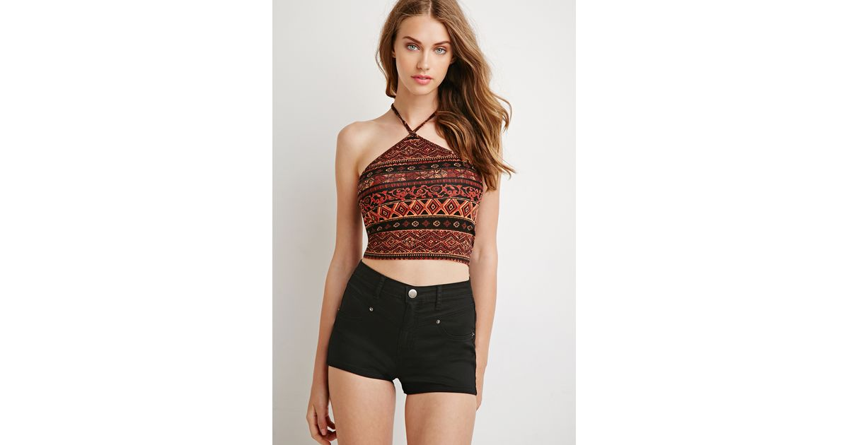 93507ed292 Lyst - Forever 21 Tribal Print Cropped Halter Top in Black