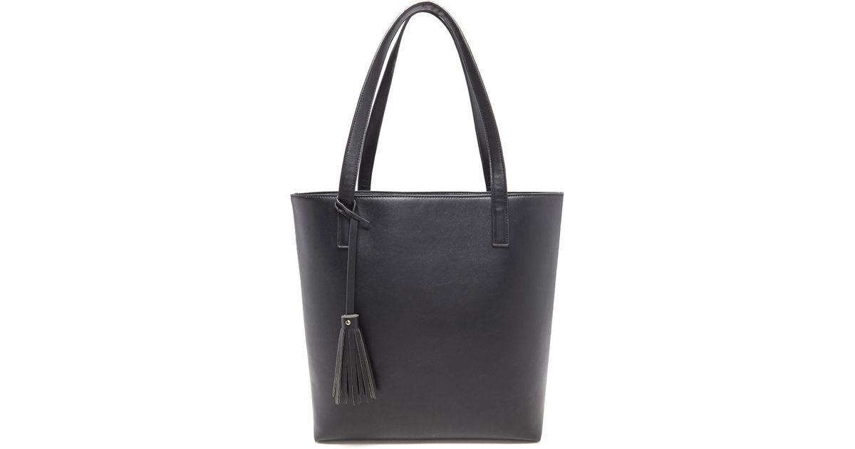 6674d5de00d1 Forever 21 - Black Structured Faux Leather Tote - Lyst