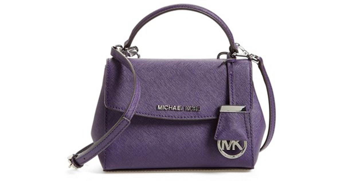 Lyst - MICHAEL Michael Kors  extra Small Ava  Leather Crossbody Bag - Purple  in Purple c46f2cf6907e5
