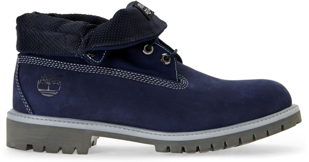 timberland blue roll top boots