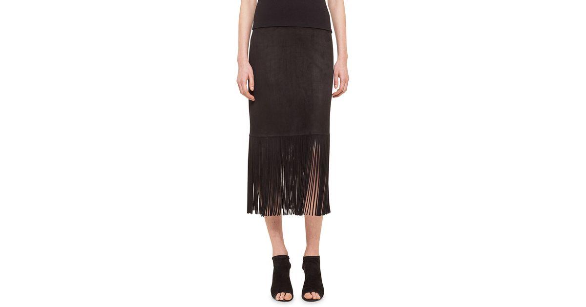 akris punto fringe pencil skirt in black lyst