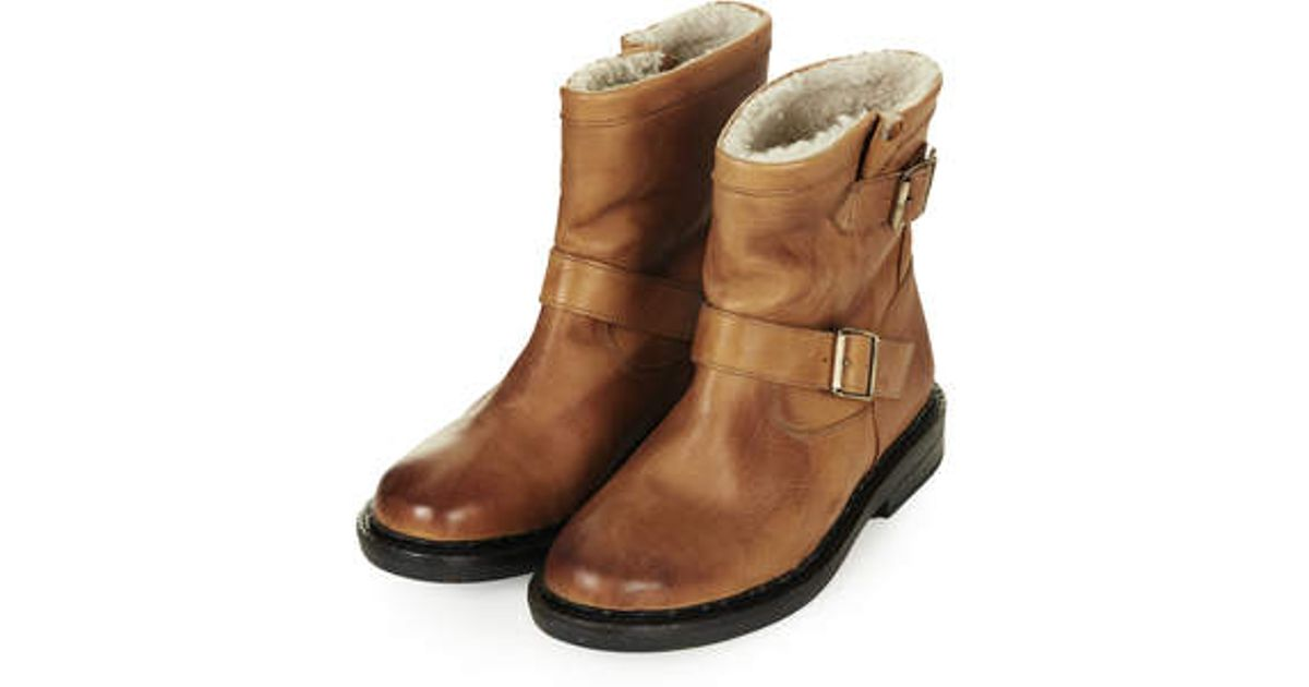 fb9d10184a68 Lyst - TOPSHOP Animal Faux Fur Lined Boots in Brown