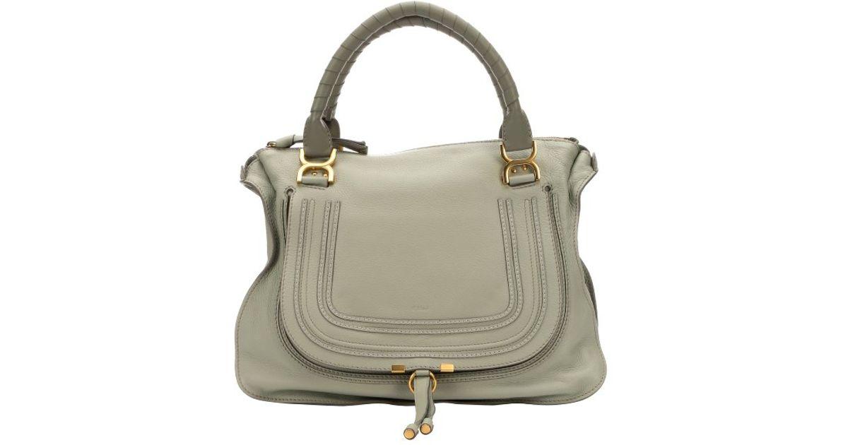 chloe tan leather handbag - Chlo�� Baobab Green Calfskin Large \u0026#39;Marcie\u0026#39; Tote Bag in Green | Lyst