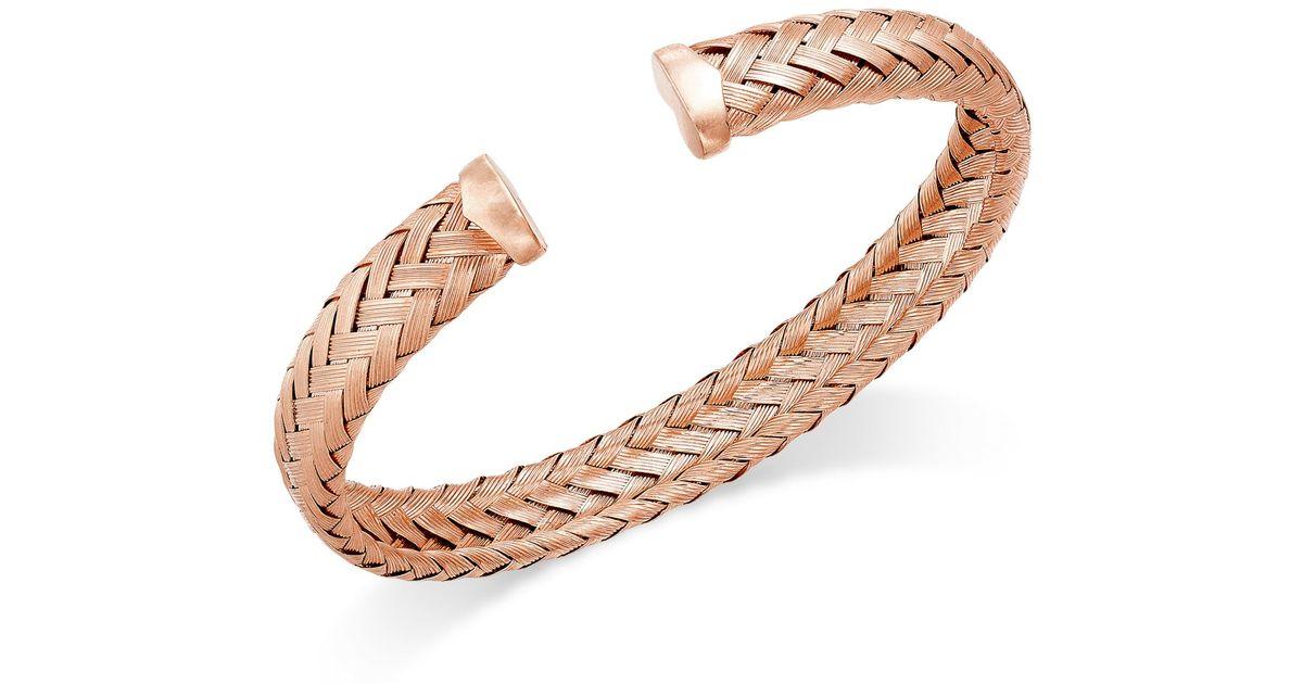 macy s woven cuff bracelet in 14k gold sterling