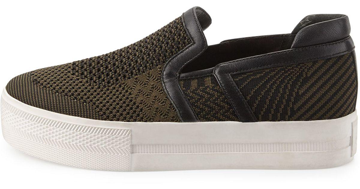 Knitting Slip On Shoes : Ash jeday knit slip on sneaker in green lyst